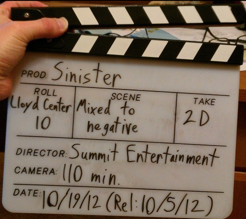 A Slate Board From The Movie Sinister (2012) Behind the Scenes