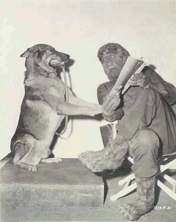 Lon Chaney with His Pet On The Set Behind the Scenes