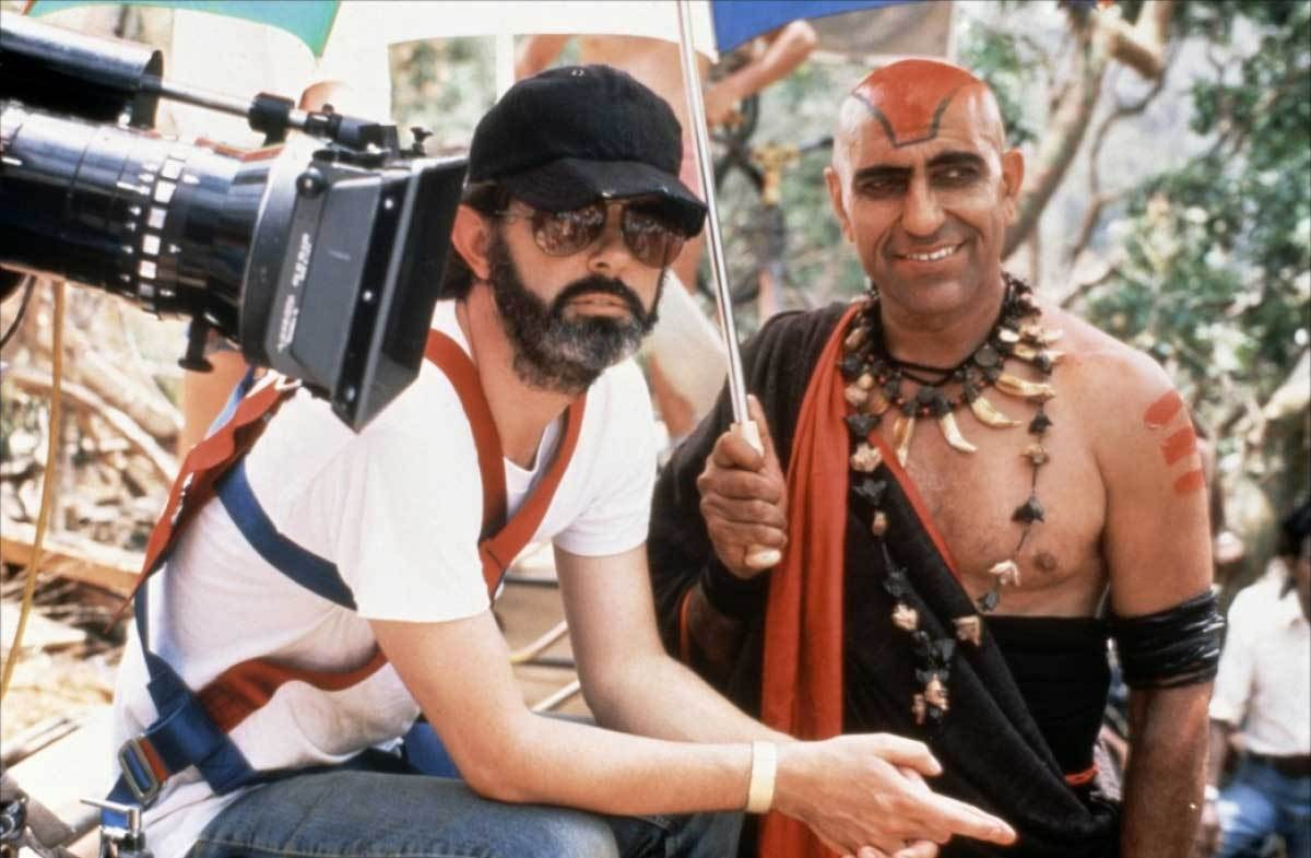George Lucas with Amrish Puri Behind the Scenes