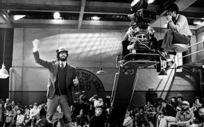 Behind the scene image from the film, The Blues Brothers