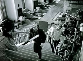 A behind the scene photo of the horror movie The Shining