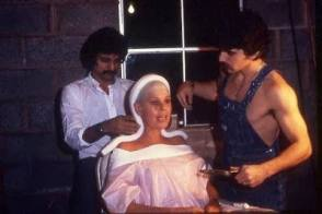Tom Savini doing the makeup for Betsy Palmer - Behind the Scenes photos