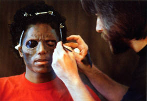 MJ Putting Makeup For Thriller - Behind the Scenes photos