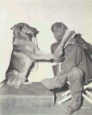 Lon Chaney with His Pet On The Set