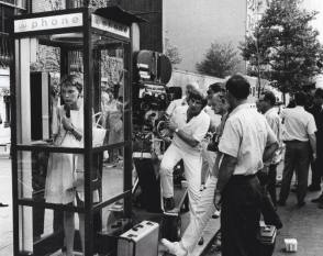Mia Farrow : Phone Booth Set - Behind the Scenes photos