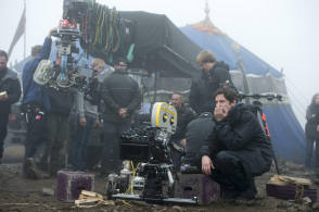Director Gary Shore on the set of Dracula Untold (2014)