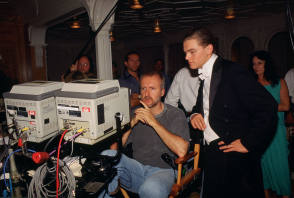 James Cameron with Leonardo DiCaprio - Behind the Scenes photos