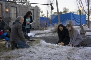 Preparing for a scene on the Victors village set - Behind the Scenes photos