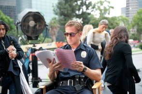 Ryan Gosling going over lines : Drive (2011) - Behind the Scenes photos