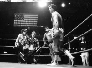 Garrett Brown on the set of Rocky (1976)