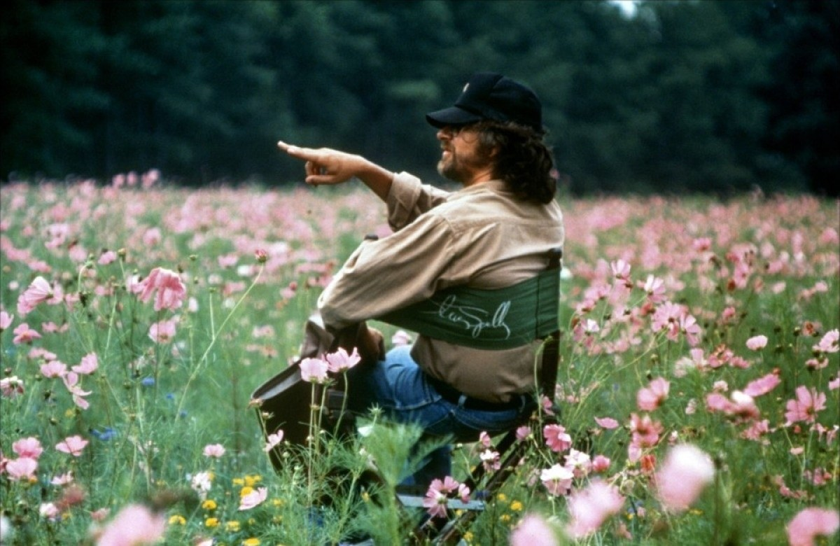 Steven Spielberg in a Field of Flowers Behind the Scenes