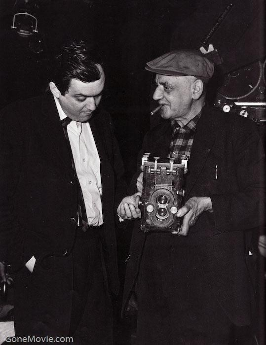 Kubrick with Weegee (Ascher or Usher Fellig) Behind the Scenes