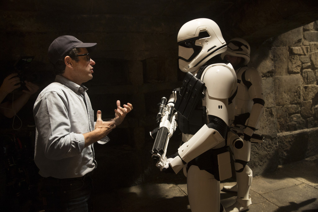 Abrams with a Stormtrooper Behind the Scenes