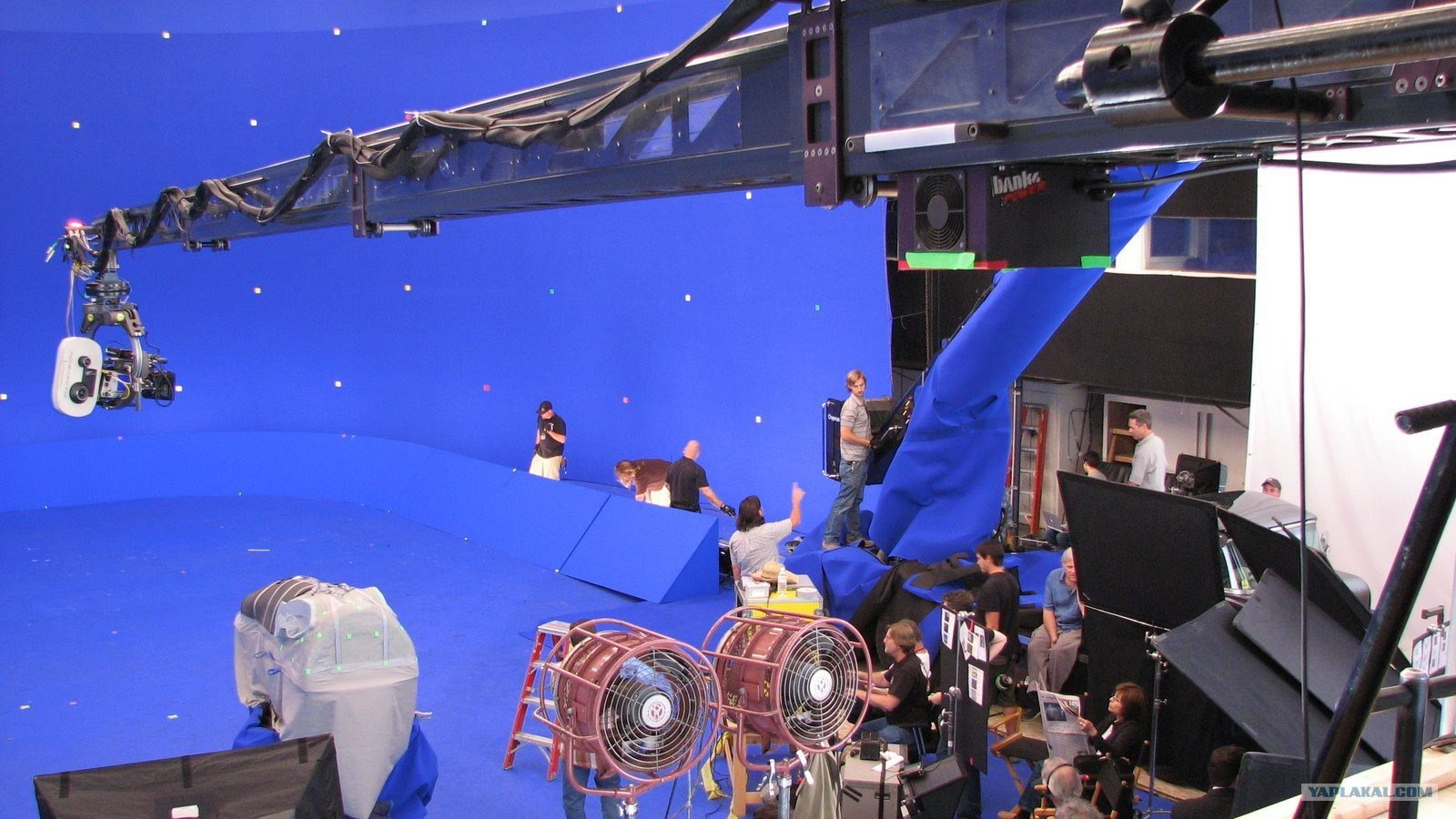 A Blue Screen Set Behind the Scenes