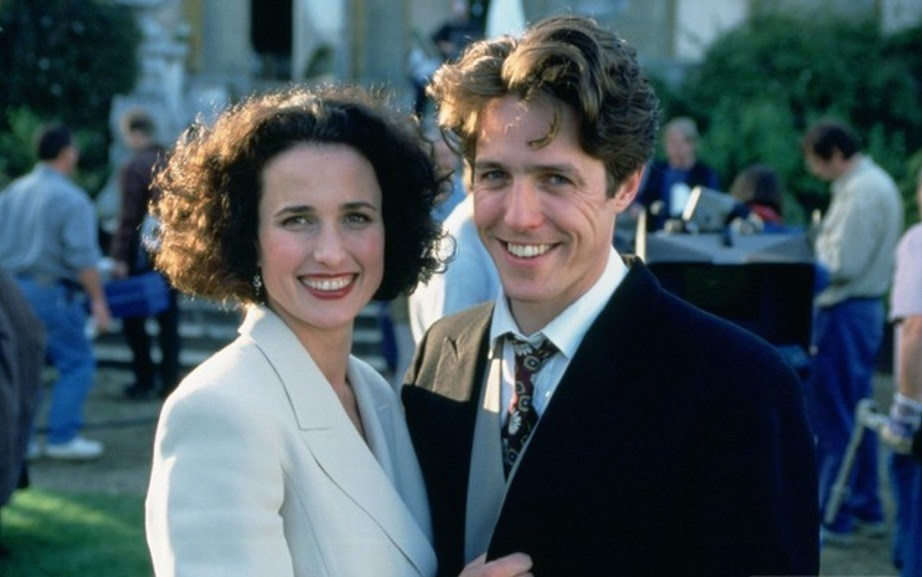 Hugh Grant with Andie MacDowell Behind the Scenes
