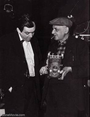 Kubrick with Weegee (Ascher or Usher Fellig) - Behind the Scenes photos