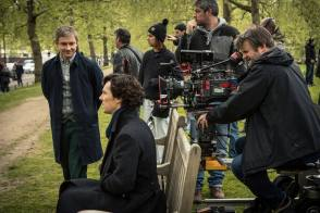 Benedict as Sherlock and Martin as Watson - Behind the Scenes photos