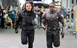 Winter Soldier and Falcon Run on the Set