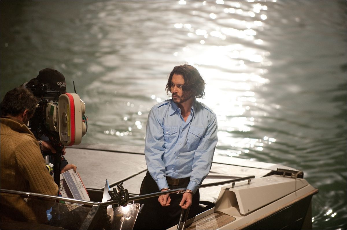 Johnny Depp in a Boat Behind the Scenes
